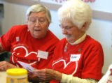 L to R: Carol McCaughey (cq) and Betty Sauer (cq) look at a Valentine during the 61st year of the...
