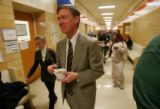 Denver Mayor John Hickenlooper walks the hallways of Emily Griffith Opportunity School enjoying a...