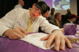 BG0042 Douglas County High School football player Ethan Adkins, CQ, 18,  signed a commitment with...