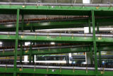 (DLM0701) -  Conveyors move finished bottles along to where they will be shipped out at the...