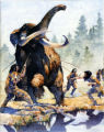 $100 for one time use permission on 2/23/07  This painting shows Clovis hunters spearing a...