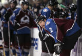 [JPM0157] Colorado Avalanche defenseman Ken Klee (2) watches the replay of the Atlanta Thrashers'...