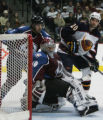 [JPM0335] Colorado Avalanche goalie Jose Theodore (60) watches traffic behind the goal as Atlanta...
