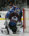 [JPM0503] Colorado Avalanche goalie Peter Budaj (31) looks a the puck bounces out of the goal...