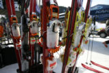 A look and the new BCA rottefella telemark ski bindings on display at one of the biggest trade...