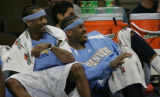 [JPM629] Denver Nuggets guard Allen Iverson, left, and forward Carmelo Anthony laugh at play on...