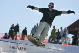 Devin Garland (cq), 23, of Denver rides a rail at the Ruby Hill Rail Yard Monday January 22, 2007....