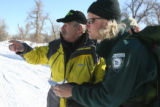 L to R: Bill Barwick (cq) Public Information Officer for Alpine Search and Rescue and Park Ranger...