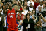 Detroit Pistons Antonio McDyess gestures to the Minnesota Timberwolves' bench in the fourth...