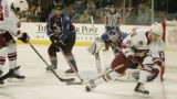 [JPM145]  Colorado Avalanche Brett Clark (5)puts his blade on a shot by  Phoenix Coyotes Georges...