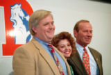 1993 FILE PHOTO - New Denver Bronco head coach Wade Phillips, his wife Laurie and Broncos owner...