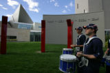 9:54 am.   Saturday October 7, 2006 Precision drummers from The Stampede, the official drum line...