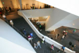 3:46 p.m. October 7, 2006.  Visitors fill the atrium of the new Frederic C. Hamilton building at...