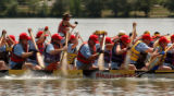 (Denver, COLO. - August 1, 2004 )  Two teams  race in Dragon Boats at the 4th Annual Colorado...
