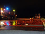 A C-DOT sand truck sits in the eastbound lanes of  I-70 at MM 22 near Fruita Colorado Monday...