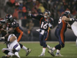 Denver Broncos throws an incomplete pass to Javon Walker in the forst quarter as they beat the...