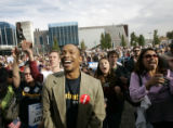 Lionel Washington (cq), from Denver, cannot contain his smile as Sen. Barack Obama, D-Ill., ...