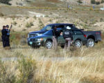 Colorado State Troopers Inspect vehicles on I-70 westbound near West Rifle, Colorado on October...