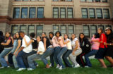 (DENVER, CO., AUGUST 16, 2004)  Freshman attending their first day of school at North High School...