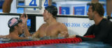 (Athens, Greece  on Monday, Aug. 16, 2004) - U.S. swimmer Michael Phelps left, shakes hands with...