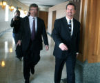 Mark Paschall (cq),right, and his attorney William Rapson (cq),left, leave  Jefferson County Court...