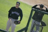 Colorado Rockies pitcher Josh Fogg prepares to throw during a live hitting situation for batting...