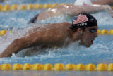 (ATHENS, GREECE AUGUST 17, 2004)  United States swimmer Michael Phelps lunges through the water...
