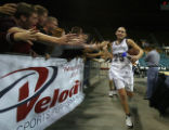 DLM1116  Horizon Hannah Tuomi is congratulated by the Horizon student fans after defeating the...