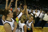 DLM1081  The Horizon Hawks celebrate after being awarded the Final Four plaque after defeating the...