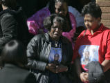 Family members leave a wake held for Denver Bronco and former University of Missouri-Columbia...