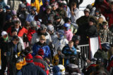 MJM785  Skiers stand in line for a ski lift as over 15,000 skiers hit the slopes at Copper...