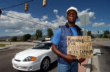 (JEFFCO, CO., Aug 3, 2004) James Gardener,52, spends his days panhandling in S. Jeffco. the...