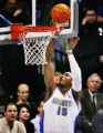 Denver Nugget Carmelo Anthony scores his first points of the game against the Memphis Grizzlies...