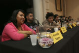 Graciela Najera, Mario Flores and John Sharza,(cq all three) (first three left to right) of eight...