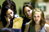 ( DENVER, Colorado August 3, 2004)  Denver West high students (L-R) Desiree Castaneda, Cynthia...