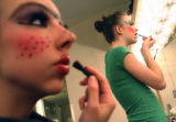 MJM098 Vanessa Woods (cq), left, and Audrey Honert (cq), right, apply makup prior to the Colorado...