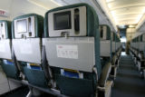A view of a seat back on an empty Frontier Airlines plane where advertising in airline cabins may...