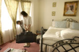 Aurora, Co.  November 19, 2003.    Randa Lee gets ready for her trip to Cambodia, packing donated...