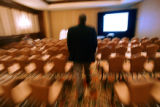 Todd Vernon (cq), CEO of Ligit Networks in Louisville, strolls into the conference room before...