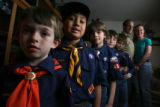 DLM1564  Some of the cub scouts of Pack 459 pose for a photograph at the home of Russ and Rhonda...