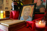 A table holding mementos of Baltimore firefighter Rachael Wilson, a 29-year-old mother of two who...