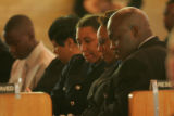 Denver Police Officer Ambrose Slaughter, right, and his wife Virginia,  next to him, attend the...