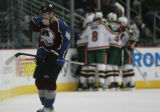 JOE133 Colorado Avalanche Marek Svatos (40) skates to the bench as the Minnesota Wild celebrate...