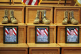 Photos inside  the memorial service Thursday February 22,2007 at Fort Carson  for three soldiers...