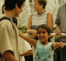 (DENVER COLORADO - 8/4/04)   Anju Kothari (cq) (right - 8 years old) greats her brother Kiron...