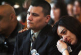 JM1055 -  (from left to right) Larry Gonzales (victim's father) and his wife, Eileen Gonzales...