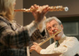 [JPM552]  Renowned flutists Lady Jeanne Galway, left, and Sir James Galway warm-up at the the new...