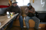 (DLM8292) -  Ernie Etchart, 43, pays a visit to Lucho Hurtado Aylas, 38, who is a sheepherder...