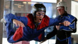 Discovery Channel television host, Steve Truitt, cq, (left) takes a flight in the indoor wind...