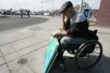 Psalm Shaw (cq) an art student at Metro State College, left disabled after a traffic accident, is...